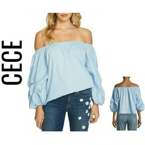 Off-the-shoulder Balloon-sleeve Blouse NWT $89 M